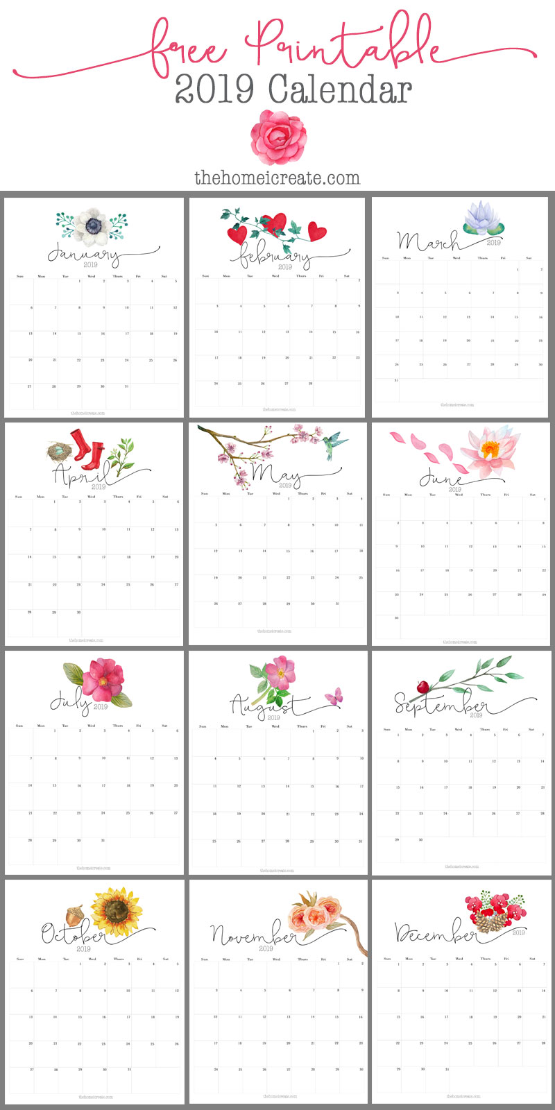 Free 2019 monthly printable calendar | thehomeicreate.com