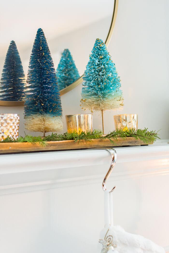 Blue Bottle Brush Christmas Tree
