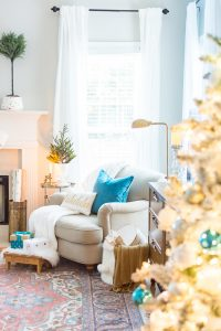Blue Christmas Family Room Seating Nook