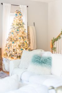 Blue and gold flocked Christmas tree