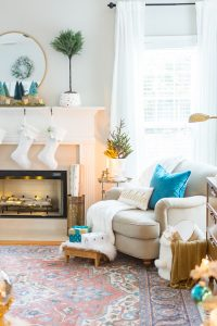 Bright and Blue Christmas Family Room