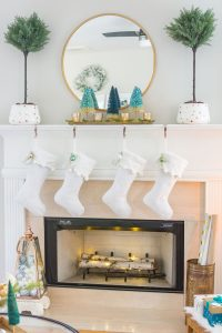 Bright and Blue Christmas Fireplace