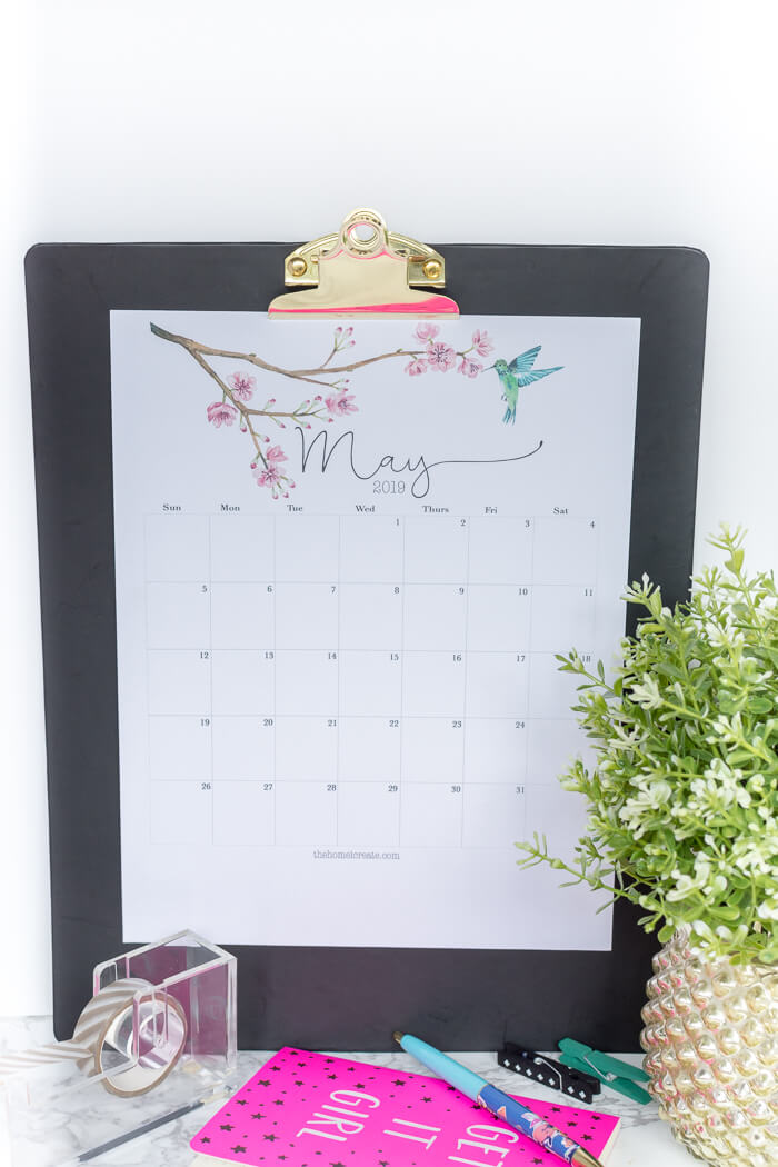 Free 2019 Watercolor Printable Calendar