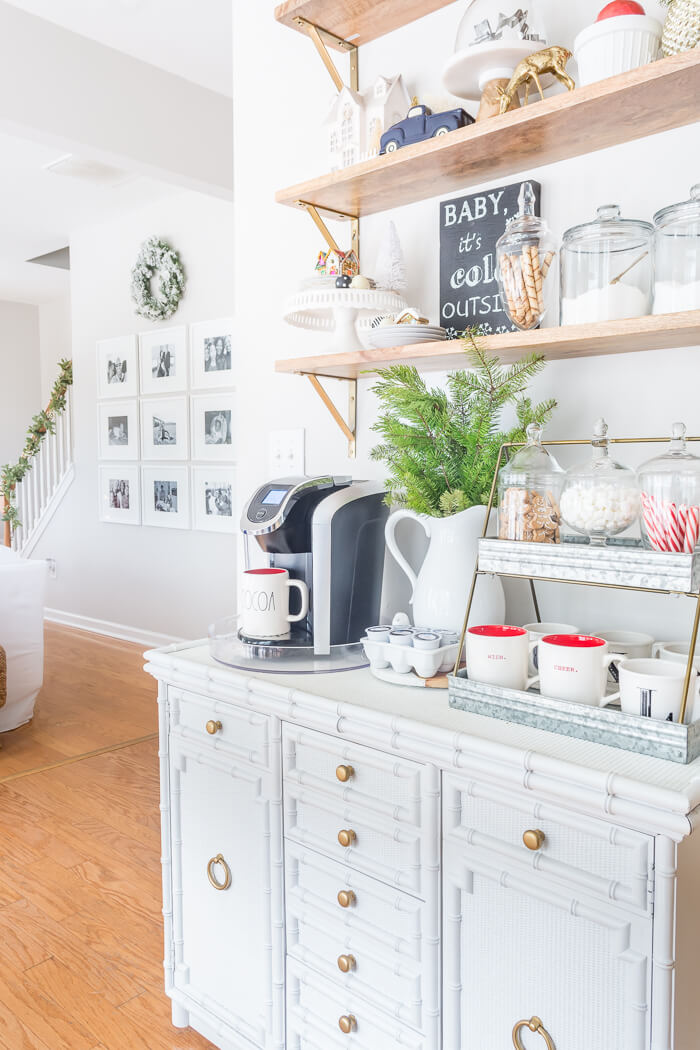 Easily set up an everyday DIY hot cocoa bar using your Keurig and a few inexpensive fixings! #thehomeicreate #hotcocoabar #hotchocolatebar #candycane #christmasdecor