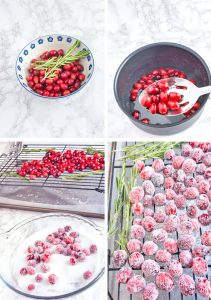 2 ingredients are all you need to make these sparkly and delicious sugared cranberries. They are perfect for garnishing your favorite holiday treat and as a guilt free sweet-tart treat. #thehomeicreate #sugaredcranberries #holidayrecipes #christmasrecipes #cranberry