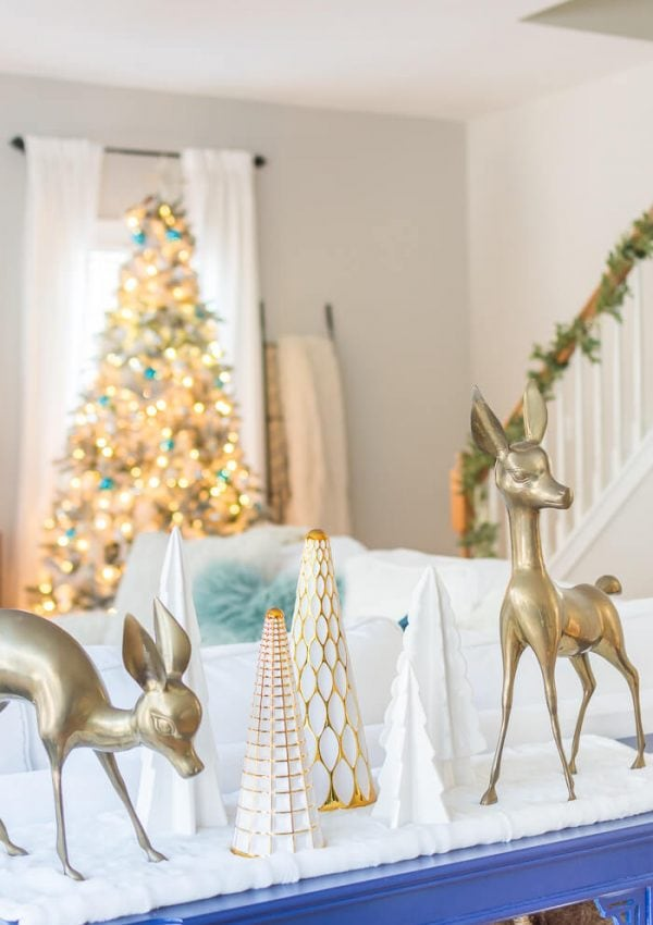 Our Bright and Blue Christmas Family Room {video}