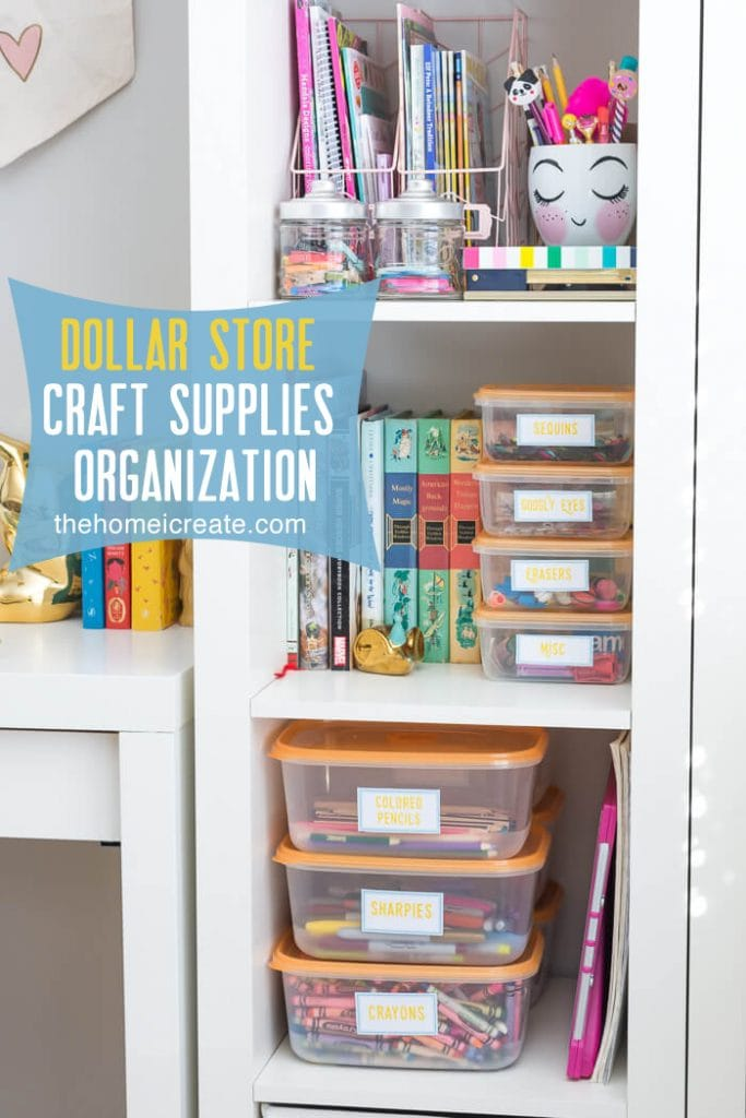 Organize all your kids craft supplies with Dollar Store containers for an affordable way to make sure markers and crayons won't get lost as easily!