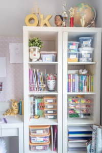 Kallax Shelving with arts and crafts supplies