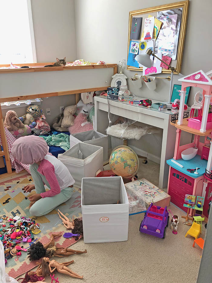 KonMari Inspired Kids Room Organization Before 2