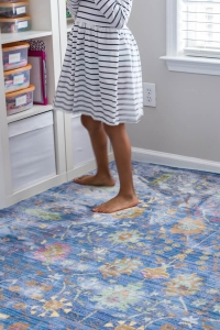 Blue rug in girls room
