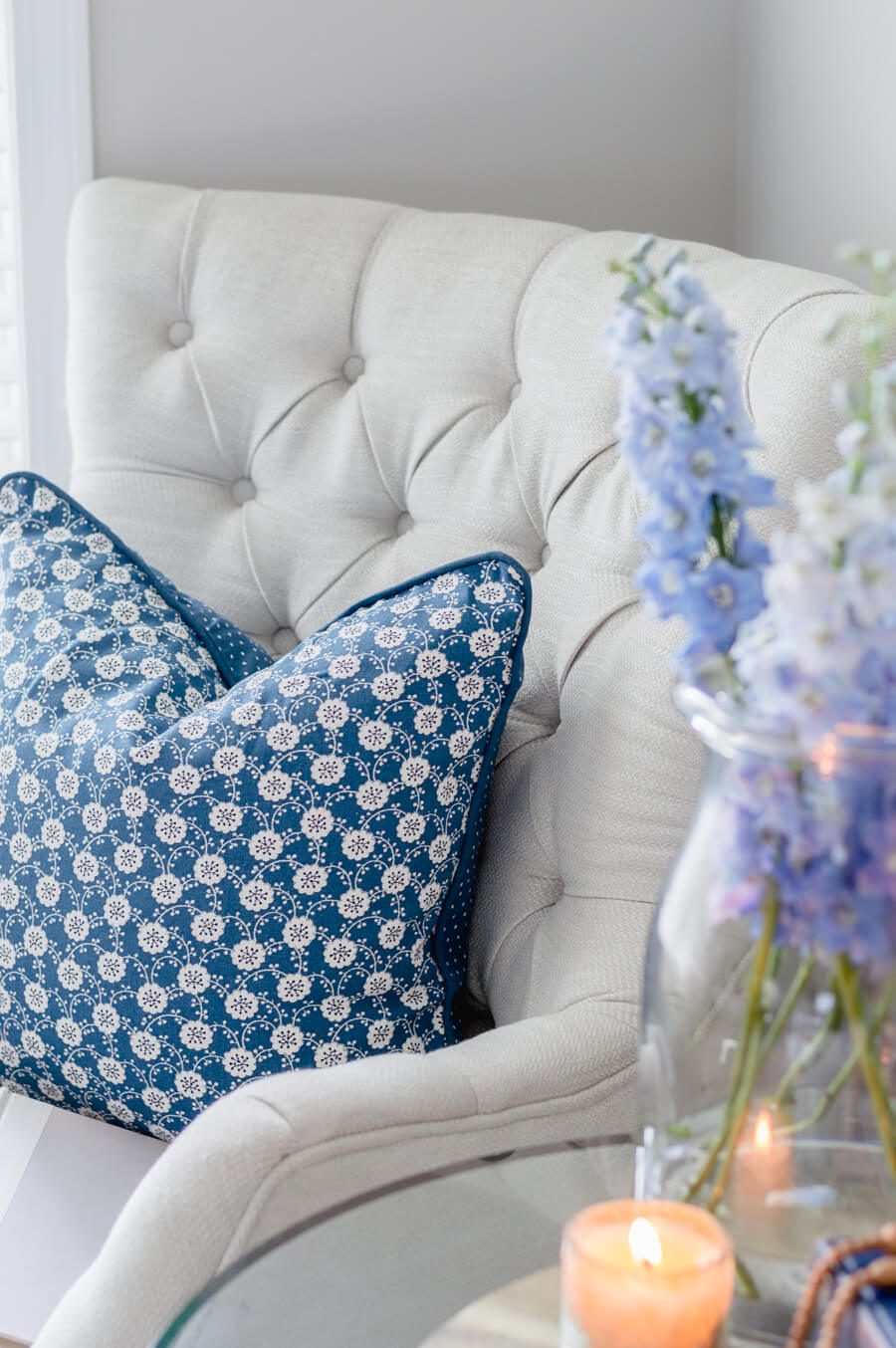 Blue and White Floral Pillow