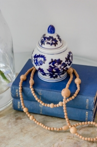 Vintage books with beads