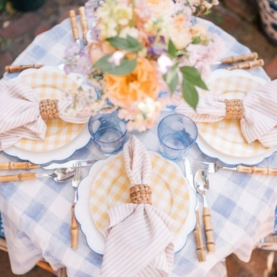 blue and yellow spring tablescape