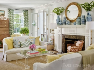 formal-living-room-lucite-coffee-table-blue-white-chinoiserie-porcelain-ginger-jars