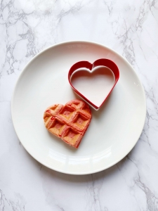 Easy to make heart shape waffles using store bought waffle mix. thehomeicreate.com