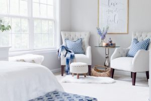 neutral home decor style with pops of blue