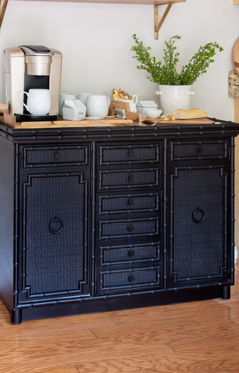 Black Vintage Faux bamboo Sideboard