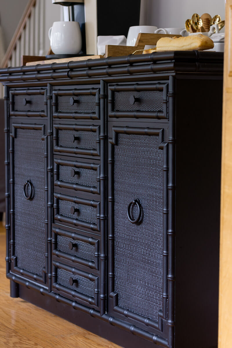 Faux Bamboo Sideboard Painted Black