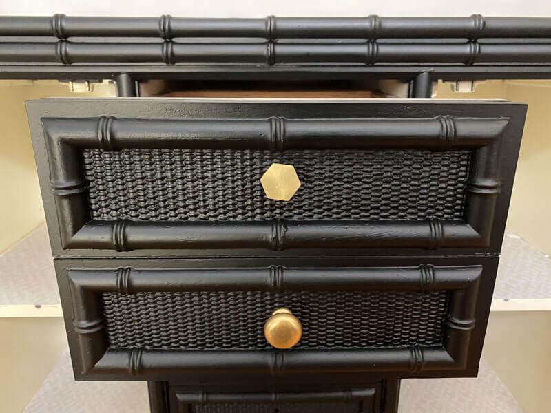 Gold Knobs black sideboard