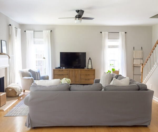 Modern-family-room-with-gray-Ikea-sectional