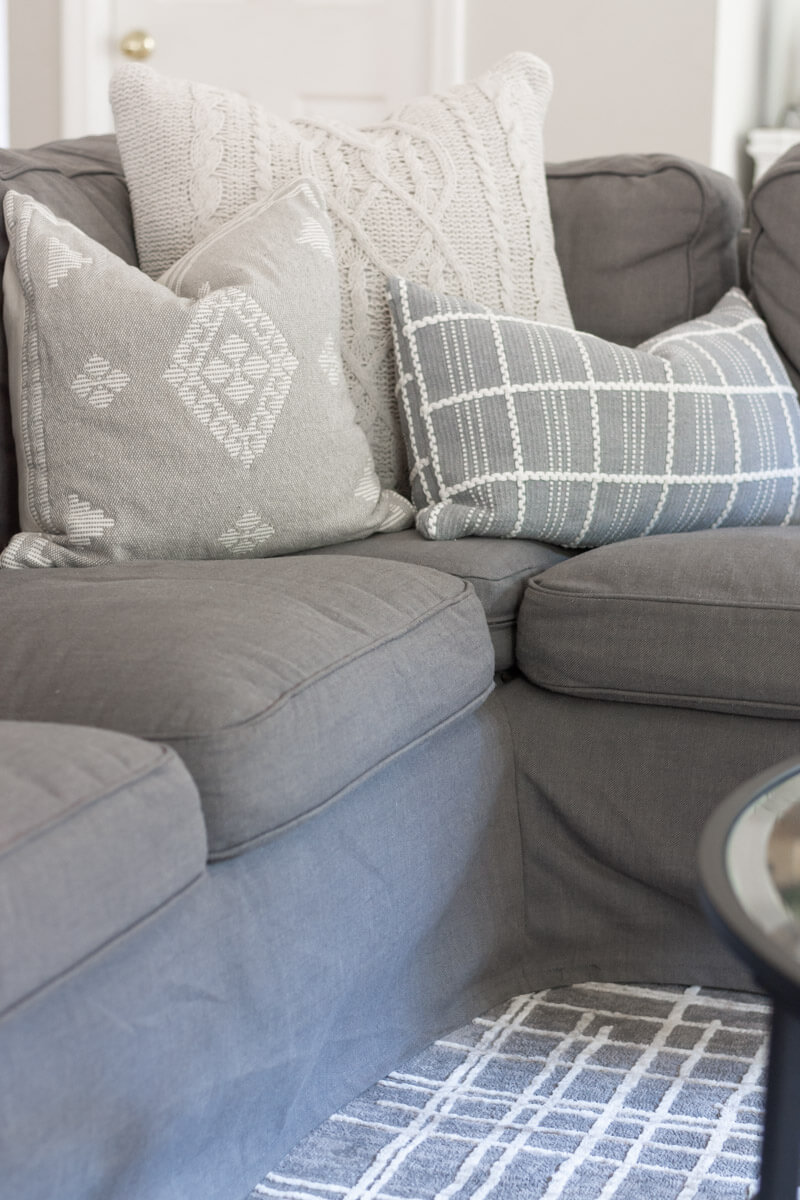 neutral pillows with texture family room decor