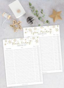 Black Friday Shopping Printable