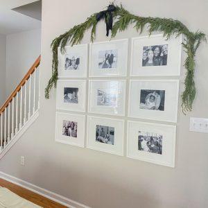 Simple Christmas garland on wall
