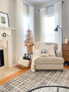 Neutral family room Christmas Decor
