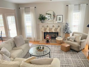 Neutral family room Christmas Decor