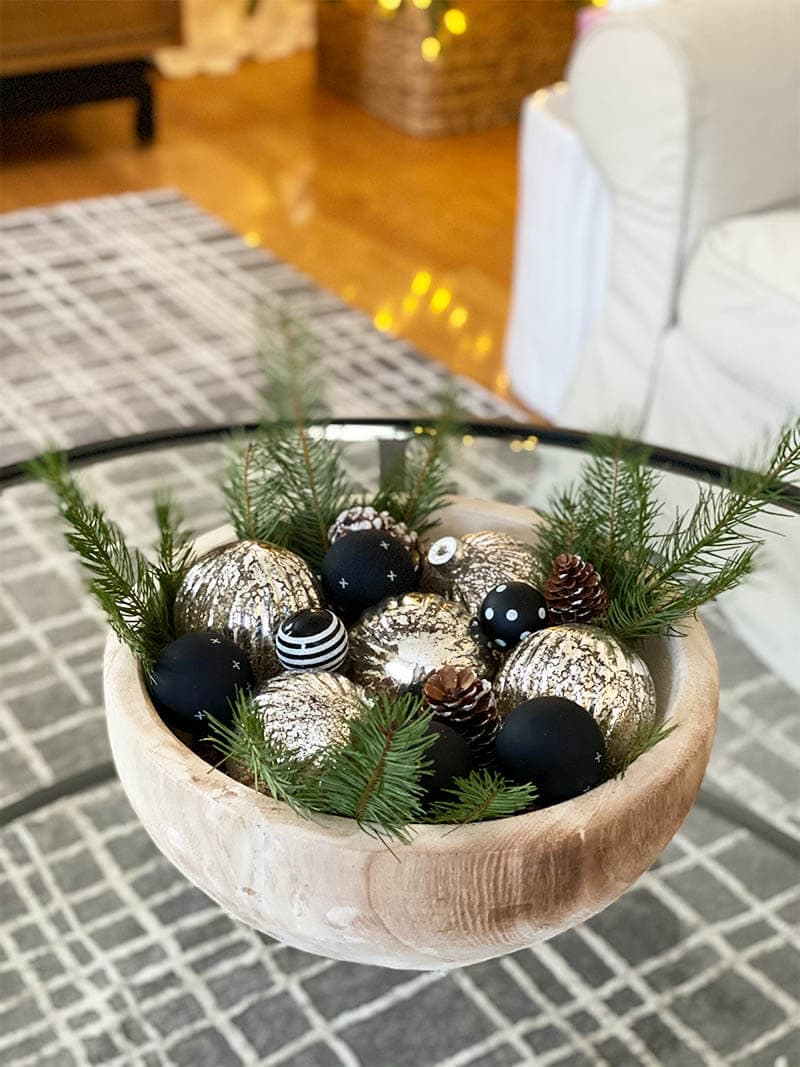 Wooden Bowl With Ornaments